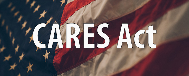Cares Act with American flag behind