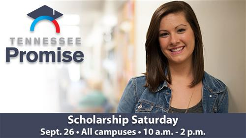 A girl smiling and promoting the scholarship Saturday event